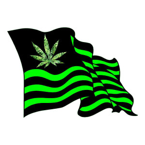 Pot Flag with Leaves Funny Stickers