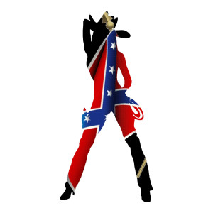 Rebel Flag Cowgirl Standing Truck Stickers