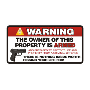 Warning Armed Die Cut Stickers