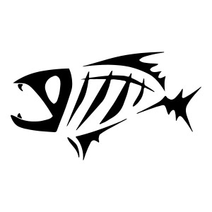 Skeleton Fish Waterproof Fishing Stickers