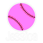 Pink Softball with Name Die Cut Stickers