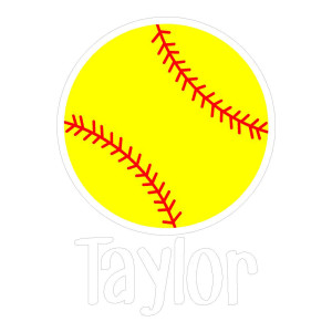 Yellow Softball with name Die Cut Stickers