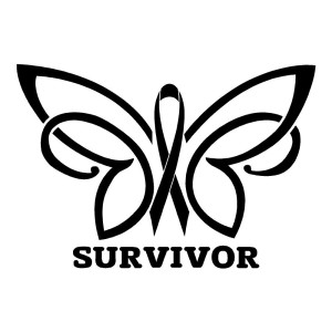 Cancer Survivor Butterfly Waterproof Stickers
