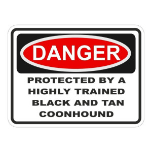 Warning Highly Trained Coonhound Waterproof Stickers