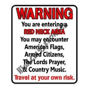 Warning Redneck Area Die Cut Stickers
