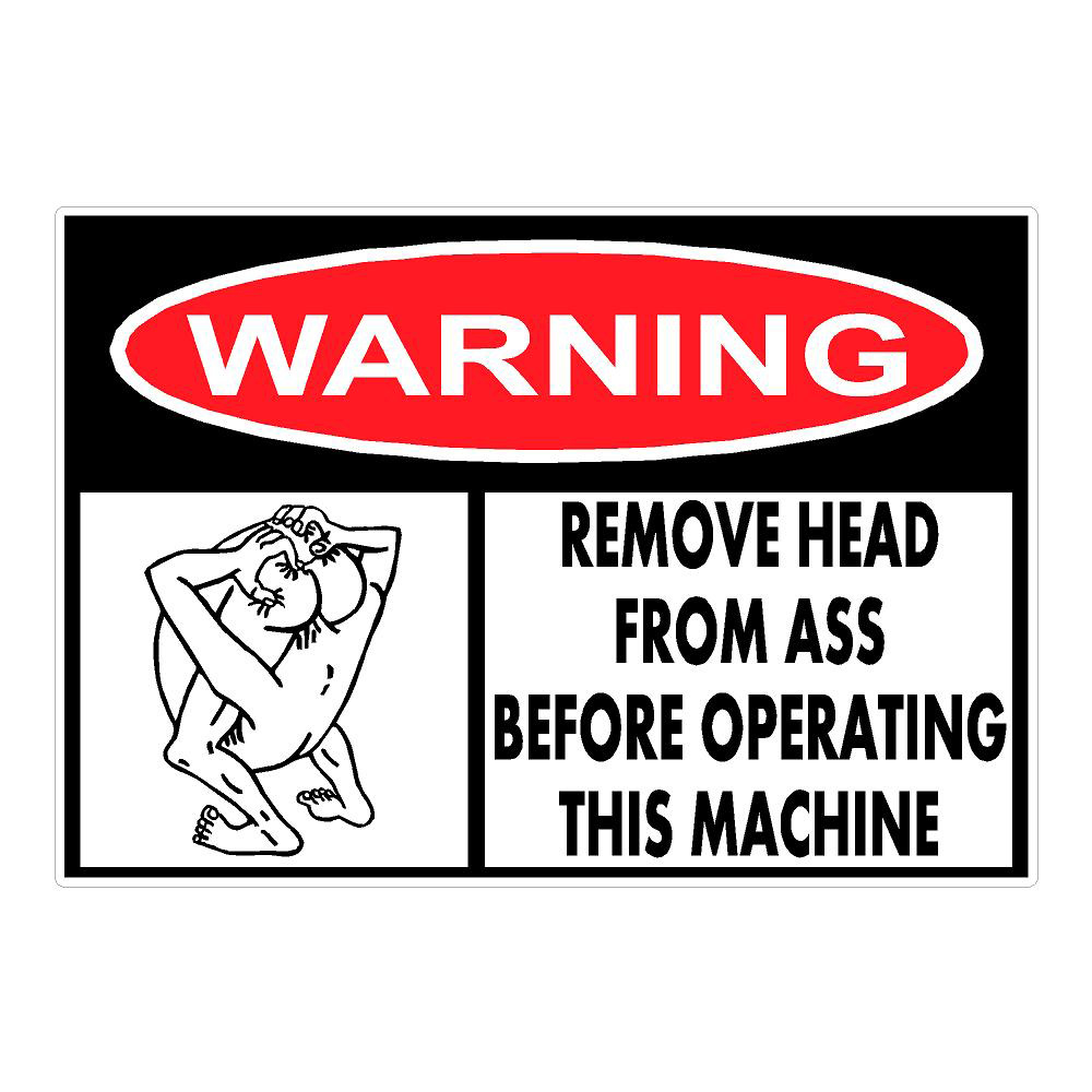 Warning Remove Head Die Cut Sticker