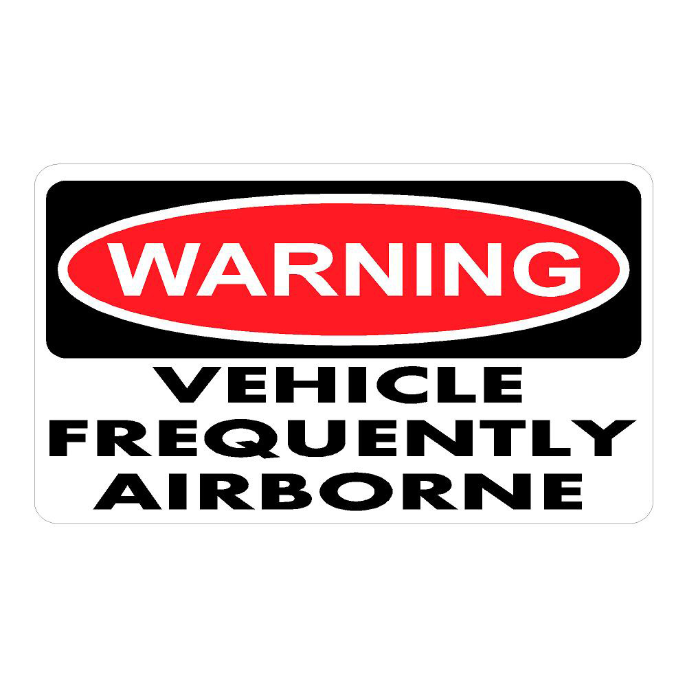 Warning Vehicle Airborne Frequently Die Cut Stickers