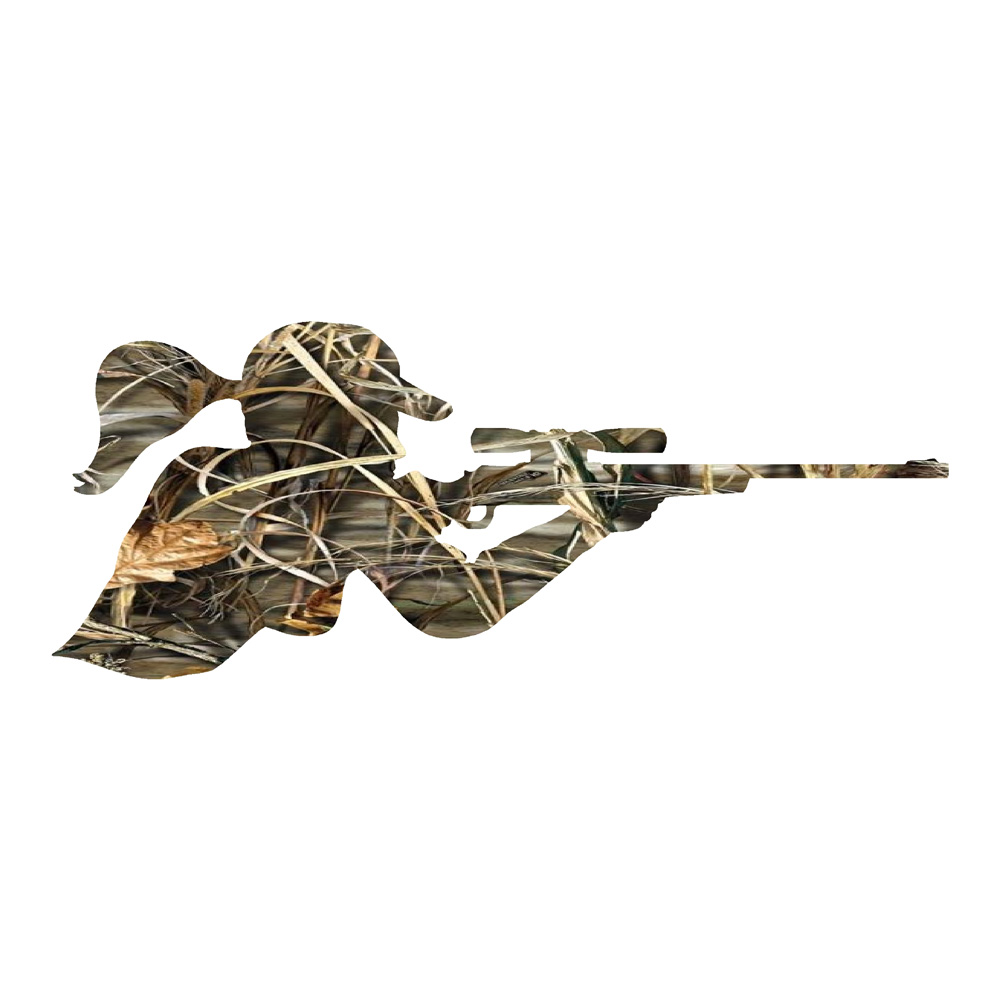 Camo Girl Shooting Gun Sticker