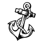 Wooden Anchor Die Cut Sticker
